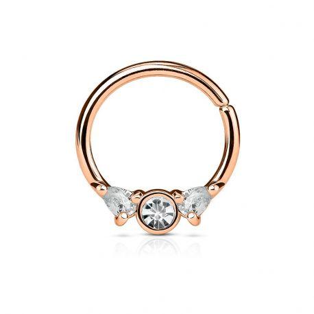 Piercing septum anneau pliable acier or rose