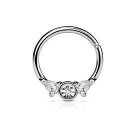 Piercing septum anneau pliable acier argenté