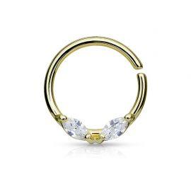 Piercing septum anneau pliable gemmes acier doré