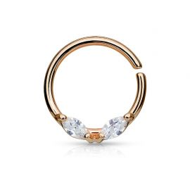 Piercing septum anneau pliable gemmes acier or rose