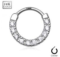 Piercing septum or jaune 14 carats dix pierres