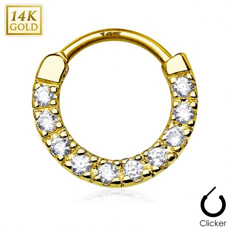 Piercing septum or blanc 14 carats dix pierres