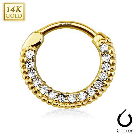 Piercing septum rond pavé de gemmes or jaune 14 carats