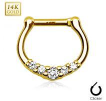 Piercing septum cinq pierres or jaune 14 carats