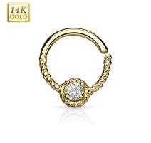 Piercing septum anneau pliable or jaune corde