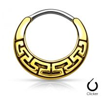 Piercing septum labyrinthe tribal doré