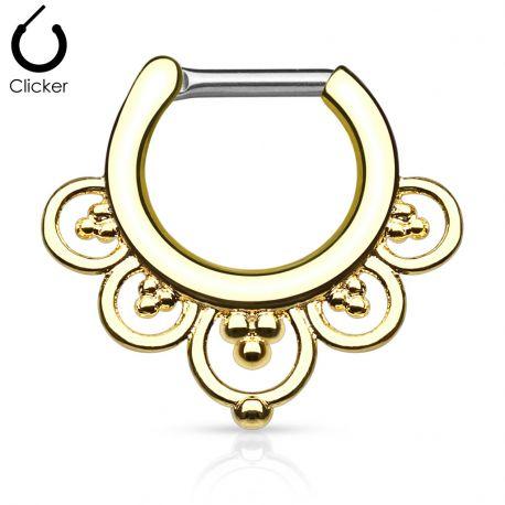 Piercing septum cercles perles 1,6 mm doré