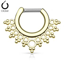 Piercing septum collier de perles 1,6 mm doré