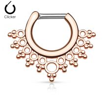 Piercing septum collier de perles 1,6 mm or rose