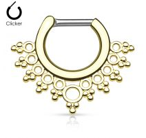 Piercing septum collier de perles 1,2 mm doré