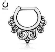 Piercing septum courbes 1,6 mm hématite
