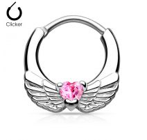 Piercing septum ailes d'ange 1,6 mm cœur rose