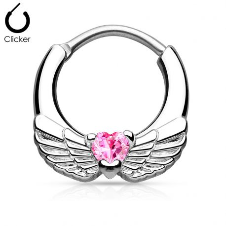 Piercing septum ailes d'ange 1,2 mm cœur rose