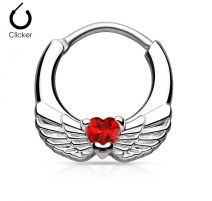 Piercing septum ailes d'ange 1,2 mm cœur rouge