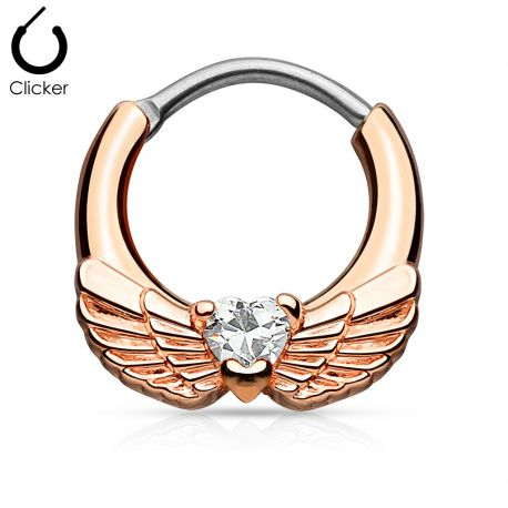 Piercing septum ailes d'ange 1,6 mm or rose