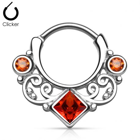 Piercing septum gemme carré rouge