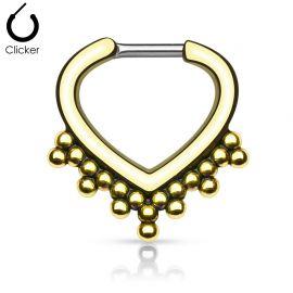 Piercing septum cœur perles 1,6 mm doré