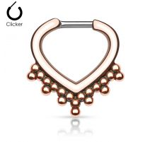 Piercing septum cœur perles 1,6 mm or rose