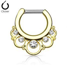 Piercing septum cercles gemmes 1.6 mm doré