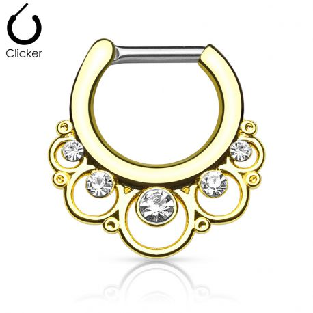 Piercing septum cercles gemmes 1.2 mm doré
