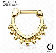 Piercing septum acier chirurgical triangle perles doré
