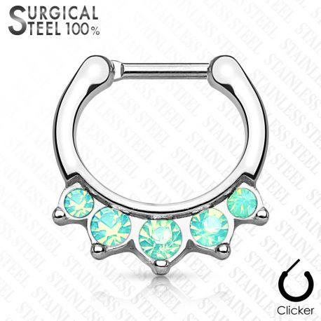 Piercing septum acier chirurgical pierres opales vertes