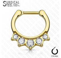 Piercing septum acier chirurgical doré 5 cristaux