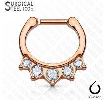 Piercing septum acier chirurgical or rose 5 cristaux