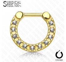 Piercing septum acier chirurgical doré pavé de cristaux