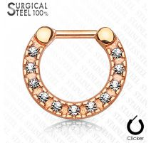 Piercing septum acier chirurgical or rose pavé de cristaux
