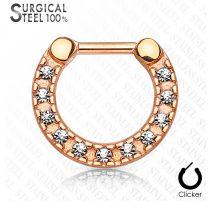 Piercing septum acier chirurgical or rose pavé de cristaux