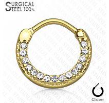 Piercing septum rond acier chirurgical doré pavé de cristaux