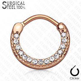 Piercing septum rond acier chirurgical or rose pavé de cristaux