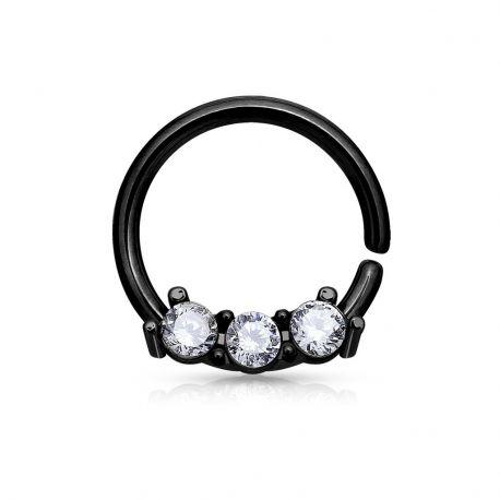Piercing septum pliable 3 gemmes noir