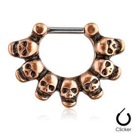Piercing septum skulls cuivré