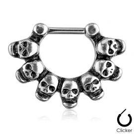 Piercing septum skulls argenté