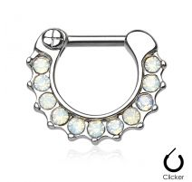 Piercing septum opales blanches