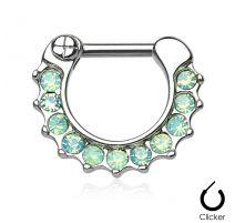 Piercing septum opales vertes