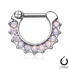 Piercing septum opales roses
