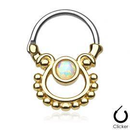 Piercing septum doré pierre opale blanche