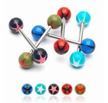 Lot de 8 piercing langue acrylique étoiles