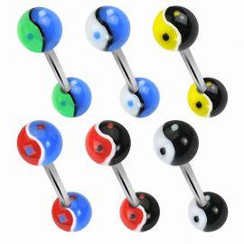 Lot de 6 piercing langue acrylique Yin Yang