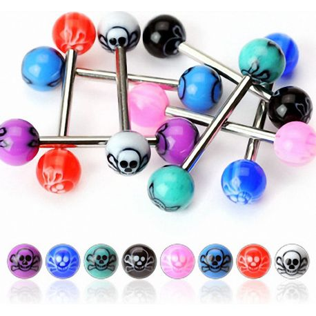 Lot de 8 piercing langue skull acrylique
