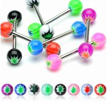 Lot de 8 piercing langue acrylique feuille de cannabis