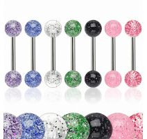 Lot de 8 piercing langue acrylique glitter