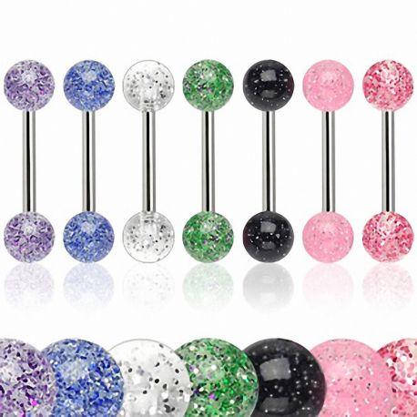Lot de 8 piercing langue acrylique glitter