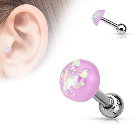 Piercing cartilage dôme opale violet
