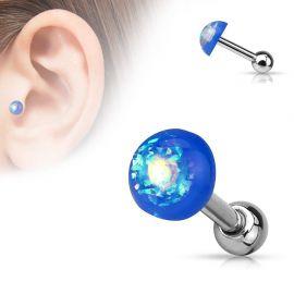 Piercing cartilage dôme opale bleu