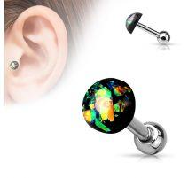 Piercing cartilage dôme opale vert