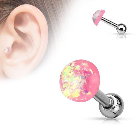 Piercing cartilage dôme opale rose